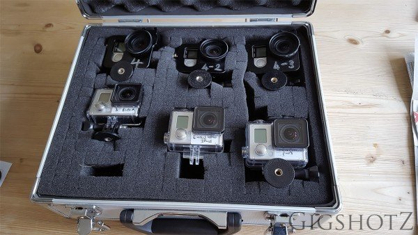 Note thtat the GoPro 4's all have open backed aluminium cases